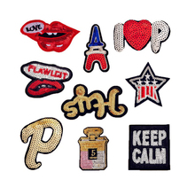 New Fashion Love Lips Letter KEEP CALM Sequined Patches Sew Fabric Sticker For Clothes Badge Embroidered Appliques DIY(China)