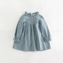 Retail children girl spring cotton and linen dress vintage baby girl Loose shirt dress high quality girl blouse autumn clothes(China)