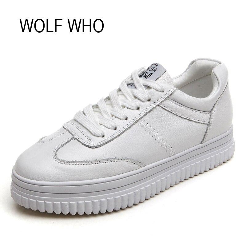 WOLF WHO Leather Hidden Heel Creeper Platform Sneaker Women Shoes White Ladies Female Fashion Tenis Feminino Casual H-131<br>