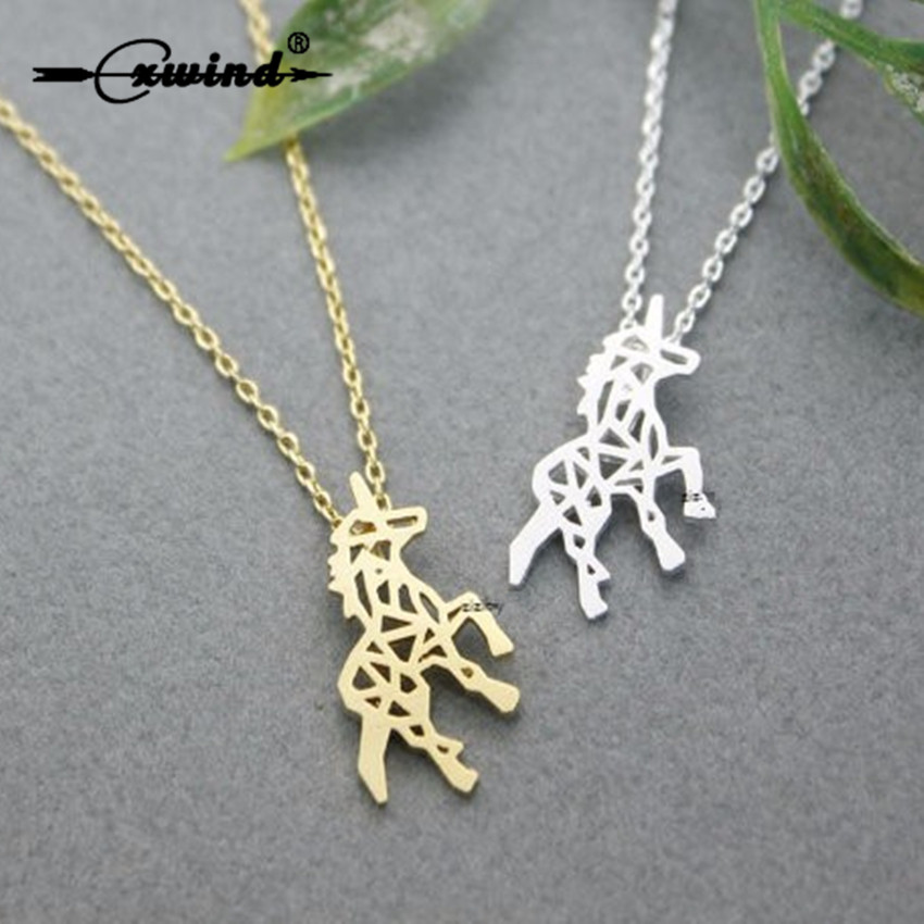 Cxwind New Unicorn Necklaces for Women Gold Silver Jewelry Tiny Brushed Cut Out Unicorn Pendant Necklace Statement Collar Bijoux