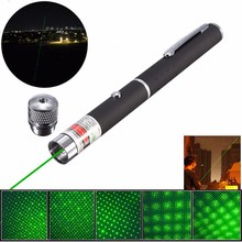 5 In 1 1000m Green Laser Pointer Pen Focusing Light 532nm 5mw Powerful Beam Kaleidoscopic Line with Star Cap Lamp Head Laser Pen