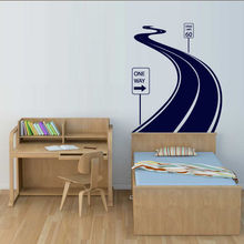 HWHD Wall Decal Road Track Car Band Traffic Sign Nursery Kids Gift free shipping