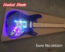 Free Shipping-Electric Guitar,Acrylic Dark Blue Body,Colorful LED Lights on Body,Maple Fretboard and can be Customized