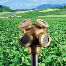 2017 New 4 Hole Brass Metal Sprinkler Spray Misting Nozzle Garden Grass Lawn Impulse Sprinklers For Irrigation System(China)