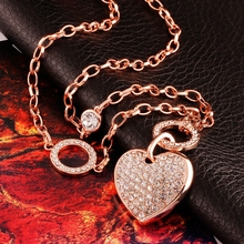 fashion long chain necklace heart charms rose gold Austrian crystal pendants & necklaces costume fine jewelry Valentine's gift