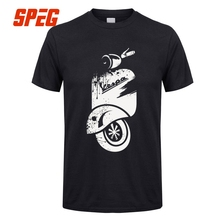 Vintage Vespa Motorcycle Ink Pattern Digital Printing T Shirt Men Short Sleeve Tops Tee 100 Cotton Round O Neck Clothes Funny(China)