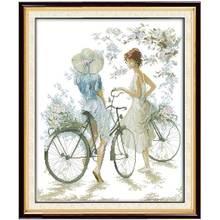 Велосипедный Спорт Девушка Вышивка Крестом Картины Счетный крест 11ct 14ct картина вышивки крестом оптовая продажа Крестик Комплект Вышивка р...(China)