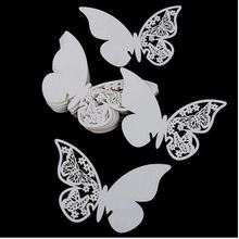 100pcs Lacer Cut Paper Butterfly cards Table Paper Wine Glass Cup Card Escort Table Mark for Wedding Party Home Decorations