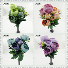 Artificial Fake Peony Silk Floral 6 Heads Flowers Bridal Bouquet Flower Arrangement Home Wedding Table Decor DIY(China)