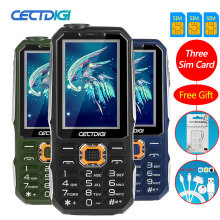 Three SIM card 2.8 inch 3 SIM card 3 standby mobile phone Cectdigi T19 Power Bank FM GSM Flashlight Russian Keypad mobile phone