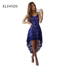 ELSVIOS 2017 Women Sexy V neck Strap Sleeveless Dress Hook Flower Hollow Out Summer Dress Fashion Lace Dress
