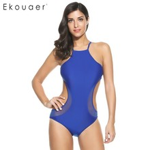 Ekouaer Double Side Cut Out One Piece Swimsuit Sexy Back Lace Up Strap Bikini Suit Mesh Patchwork Bathing Suit Swimwear(China)