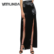 VESTLINDA Sexy Silk Skirt Women High Waist Solid Color Double Slit Skirt 2017 Fashion Women Long Bodycon Summer Fall Maxi Skirts