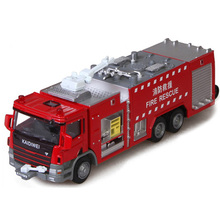 Scale Alloy Car Toy 1:50 Die Cast Metal + ABS Fire Truck Model, Delicate Water Pot Fire Rescue Truck Toys Kids Brinquedos
