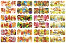 12 PACK/ LOT WATER DECAL NAIL ART NAIL STICKER SLIDER TATTOO FULL COVER AUTUMN LEAF MAPLE A1201-1212(China)