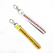 Classic Baseball Softball Sports Key Chain Fashion Leather Seamed Lace Stitching Wristlet Braves Kay Rings For Bag Pendant
