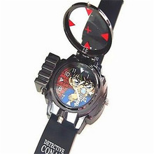 Children's Detective Conan Infrared Glass Red Light Laser zoom Analog Cartoon Characters wristwatch Brand New(China)