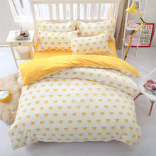 Simple korean style king-full kids bed linen bedding set Cotton bedclothes duvet cover flat sheet pillow case-comforte set(China)