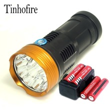 Tinhofire 20000 lumens light King 10T6 LED flashlamp 10 x CREE XM-L T6 LED Flashlight Torch Lamp Light with battery and charger