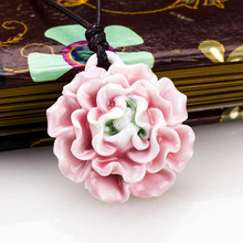 HOT New Design Beautiful Oriental Charming Sweet Pink Peony Flower Vivid Porcelain Necklace Small Ceramic Beads Ethnic Jewelry