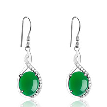 Korean Beautiful Graceful Temperament 925 Sterling Silver Chalcedony Earrings