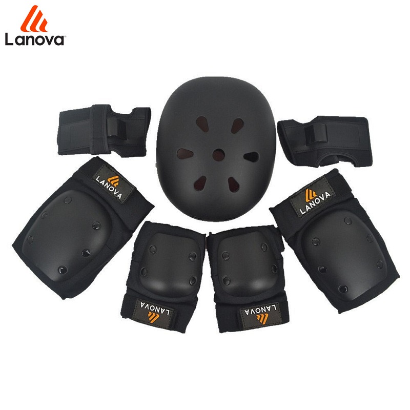 LANOVA 7pcs/Set Protective Gear Knee Elbow Pads Wrist Protector Protection Skate Helmet For Scooter Cycling Roller Skate 4 Size <br>