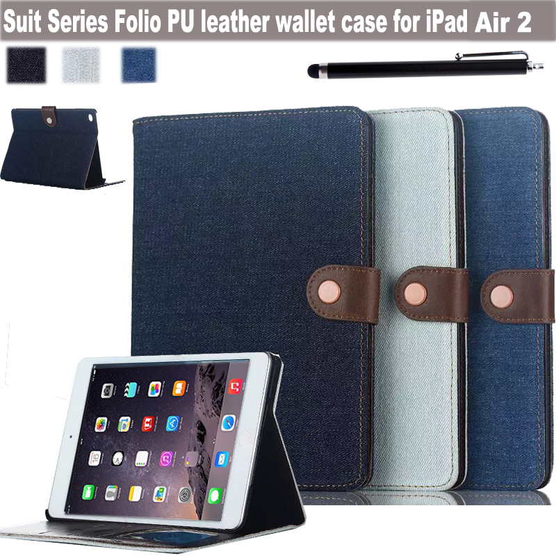 Ultra Thin Cowboy Series Folio PU Leather Wallet Design Magnetic Stand Case Cover for Apple iPad Air 2 9.7 Inch Tablet<br><br>Aliexpress