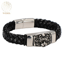 Engraved Lion Head Charm Leather Braided Bracelets Punk Rope Cord Bracelet for Men Birthday Gift, Stainless Steel Charm Bracelet(China)
