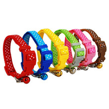 Nylon Pet Dog Puppy Cat Collars Fashion Polka Dot Print Adjustable Pet Animals Neck Chain With Bell 6 Colors Pet Collar