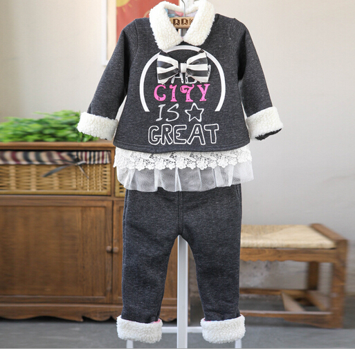 Anlencool 2017 Baby girl clothing sets quality winter clothing plus velvet bow winter new European and American childrens suits<br>