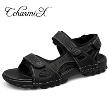 CcharmiX Big Size 48 Mens Sandals Genuine Leather Summer Beach Dress Mens Flip Flop Sandals Outdoor Men Shoes Black Light Sandal(China)