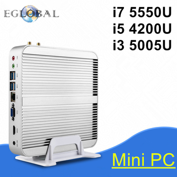 Eglobal fanless mini pc i5 procesador intel core i7 5550u win10 4200U i3 5005U/4005U Nuc Ordenador 4 K TV Box Envío Libre de DHL