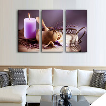 3 Picture Combination  Modern Purple Lavender with Candles Spa Pictures Photo Prints on Canvas Paintings Home Decor Wall Artwork