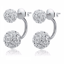 2017 New Fashion Crystal Stud Earring Double Sided Beads Earrings Ear Stud Ball Gift For Women Jewelry Colorful Hot Sale E1775