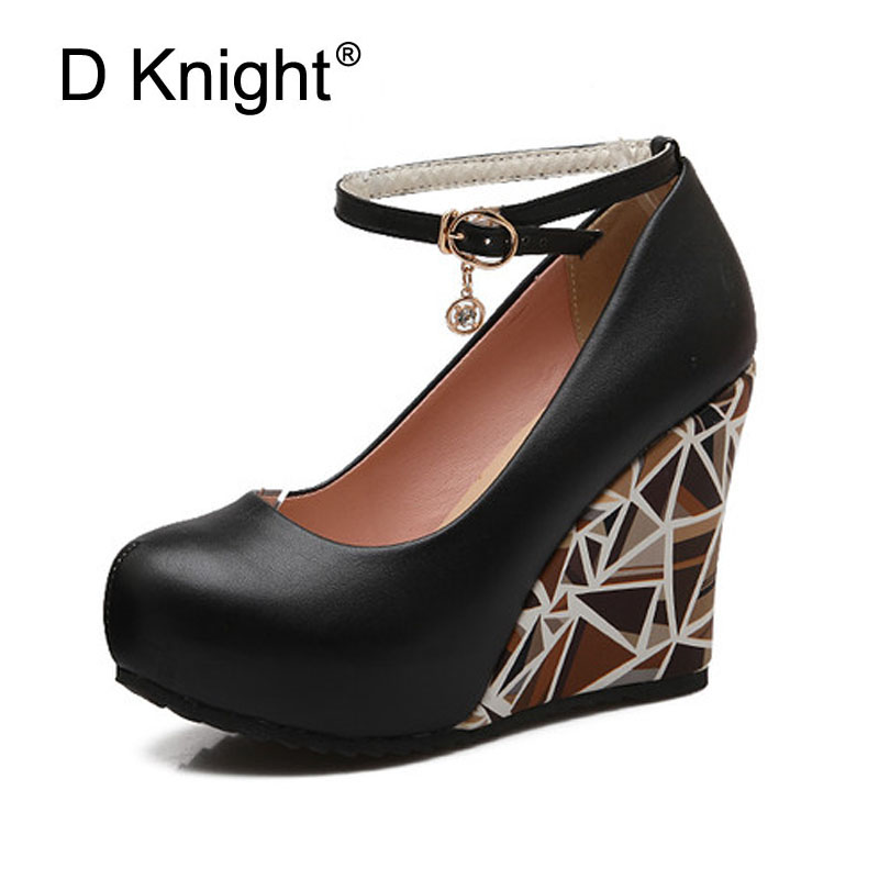 Ladies Casual Platform Wedges Shoes Fashion Print High Heels Women Wedges Sexy Shallow Mouth Ankle Strap Women Pumps Size 34-41<br>