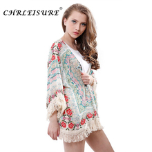 CHRLEISURE Autumn Floral Print Tassel Kimono Women Fashion Flare Sleeve Boho Blouse Casual Open Cape Tops Women S-XL