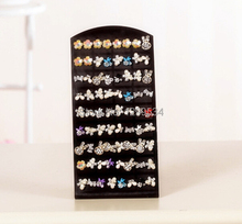 Free Shipping 6pcs/lot Black Plastic Display Rack Stand Holder Organizer 36 Pairs Earring Jewelry Show(China)