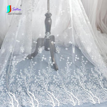 White Snowflake Tree Pattern Fresh and Cleaned Wedding Dress,Doll/baby Curtain Handmade Material Embroidery Fabric S0537L(China)