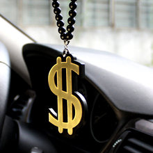 Golden US Dollar Symbol Sign Badge Car Fashion Pendant Car-Styling JDM Interior Rearview Mirror Ornament Beads Hellaflush Charm