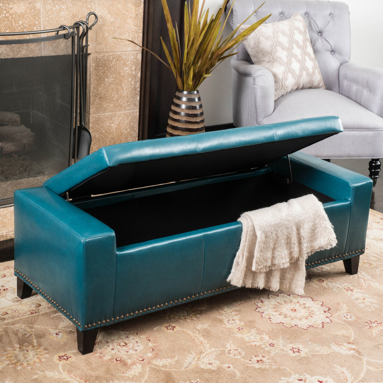 Robin Studded Teal Leather Storage Ottoman Bench (3)