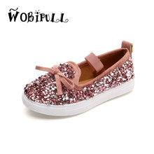 WOBIPULL 2017 autumn 2-5 years girl board shoes bow tie sequins canvas shoes shiny flat bottom soft bottom fashion walking shoes