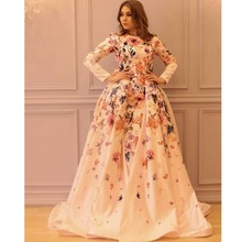 2017 Glamorous Boat Neck Print Flowers Long Sleeve Keyhole Back Straight Floor Length Evening Dresses with Overskirt
