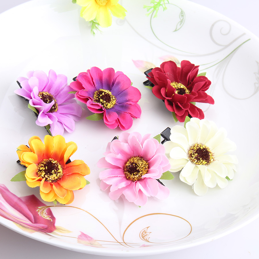 Girl Big Flower Hairpin Side-Knotted Princess Headband Daisy Hair Accessory Bloom Baby Barrette Children Chrysanthemum Hair Clip(China)