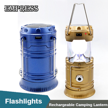 Solar Power Collapsible Flashlights Portable Lamp Luminaire LED Exterieur 6LEDs LED Rechargeable Hand Lamp Camping Lantern Light(China)