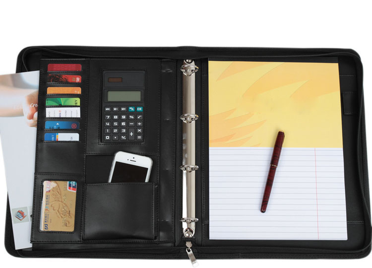 multifunctional PU leather documents bag business zipper portfolio A4 file folder with calculator office supplies black blue red<br>