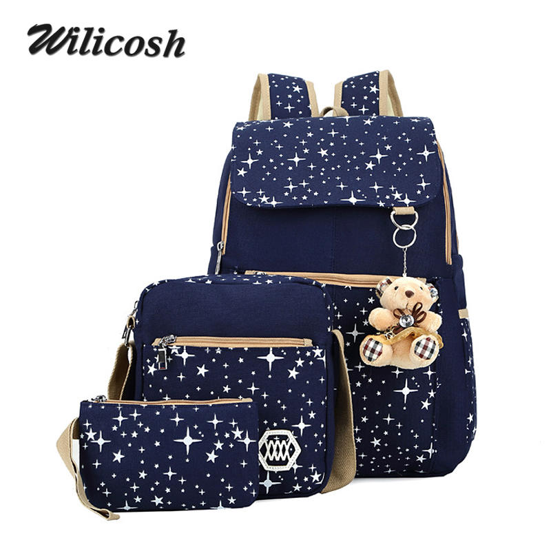 4 Colors Backpacks Brand 3 pieces Sets Women Backpack Star Printing Canvas School Bags for Teenager Girls Shoulder Bag WL1006<br><br>Aliexpress