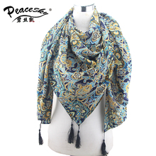 Tassel Floral Scarf Muslim hijab, Mercerizes Cotton Voile Scarf ,Shawls and scarves Ladies Scarves 2015