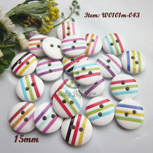 Children buttons 250pcs Mixed white bottom color line wood buttons for sewing scrapbook crafts decorative materials wholesale