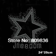6pcs/Lot Five-pointed star with logo design hotfix rhinestone heat transfer design iron on motif spatches (ss-2382)