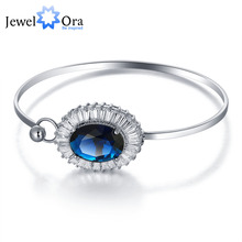 Trendy Accessories 190mm Blue Cubic Zirconia Bangle Rhodium Plated Bracelets & Bangles For Women New 2016(JewelOra BA101294)